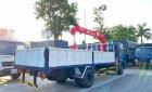 Hyundai Mighty Ex8L thùng lửng có gắn cẩu unic 3 tấn 4 đốt, tải trọng 7 tấn 4 thùng dài 5m3